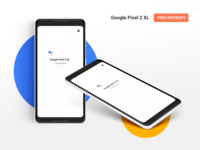 Google Pixel 2 XL Free PSD mockup. Front and Isometric views.