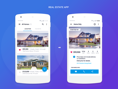 Real Estate App light material android app real estate