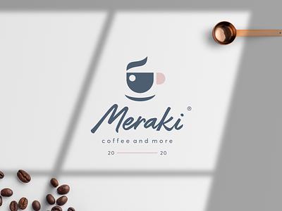 Meraki cafe cafe logo coffee bean morning brew brewers barista breakfast flavours coffee cup cafe coffee brand icon cursordesignstudio graphicdesign vector illustration logo design cursordesign