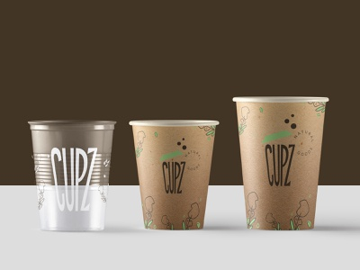 cupz coffee cups natural nature cafe logo brandidentity branding coffee cup brew barista coffeecups cafe coffee graphic brand cursordesignstudio typography illustration graphicdesign logo design cursordesign