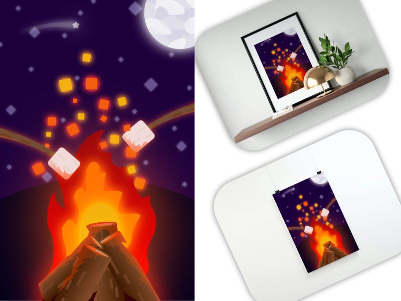 Camping Poster dark wall moon camping night fire art poster vector creation illustration design affinity designer