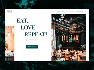 Eatery main screen concept typography food eatery restaurant cafe minimal figma dailydesign concept website design website webdesign ui