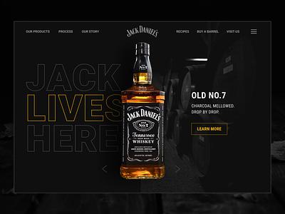 Friday mood concept web typography dailydesign black outlines bottle whiskey product figma minimalism dark theme concept website design website webdesign ui