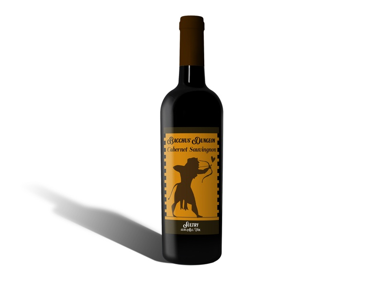 Bacchus' Dungeon Sultry Wine wine label product design brand design advertising adobe photoshop adobe illustrator illustration art