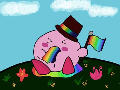 Kirby x Pride kirby x pride digital artist rainbows pride kirby digital painting adobe photoshop illustration art