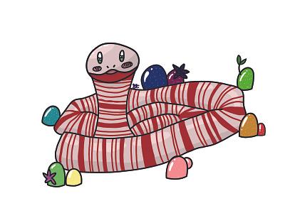 Peppermint Snake candy snake peppermint candy snake digital illustration design digital painting adobe photoshop illustration art