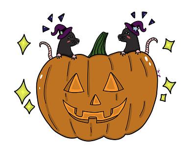 Witchy Ratz stickers halloweenart jack-o-lantern rats animals spookyart halloween digital artist digital illustration digital painting adobe photoshop illustration art