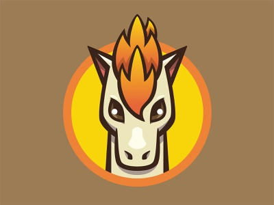 077 Ponyta kanto patch pokémon collection series pokédex illustration icon badge mascot
