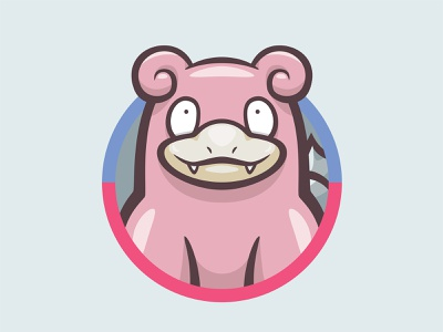 080 Slowbro kanto patch pokémon collection series pokédex illustration icon badge mascot