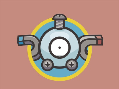 081 Magnemite kanto patch pokémon collection series pokédex illustration icon badge mascot