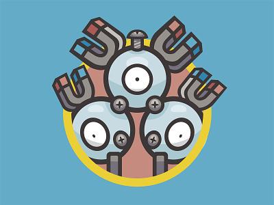 082 Magneton kanto patch pokémon collection series pokédex illustration icon badge mascot