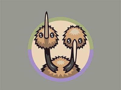 084 Doduo kanto patch pokémon collection series pokédex illustration icon badge mascot