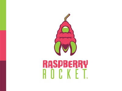 Raspberry Rocket branding spaceship rocketship fruit raspberry juice smoothie logo daily logo challenge