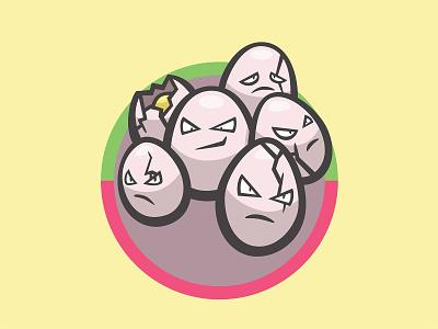 102 Exeggcute kanto patch pokémon collection series pokédex illustration icon badge mascot