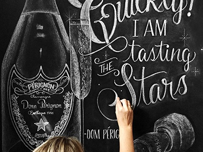 Champagne toast new year champagne illustration lettering chalk letters hand drawn black and white chalkart chalklettering chalk