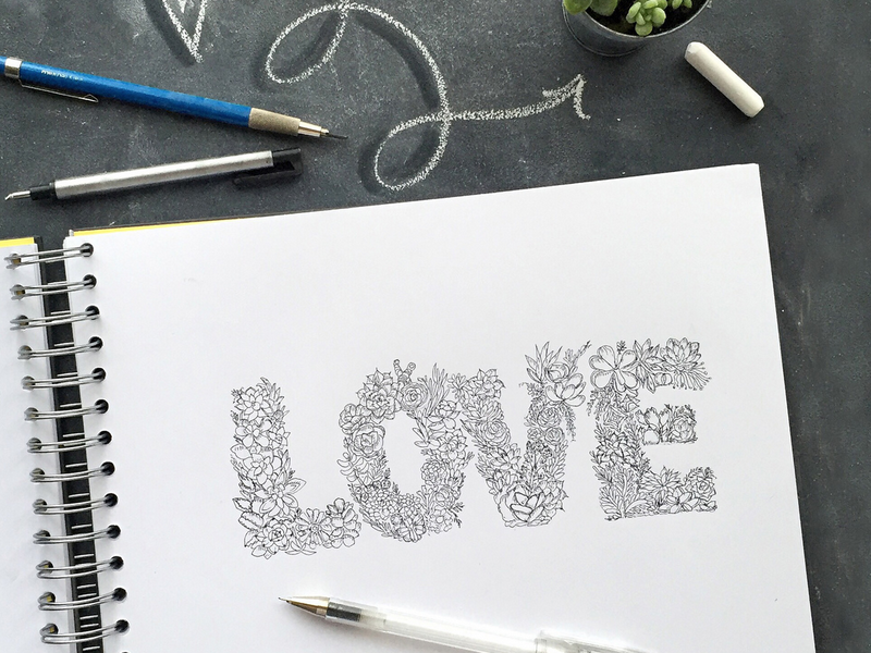 Love Sucs! hand drawn type hand drawn succulents garden love letters illustration lettering hand lettering