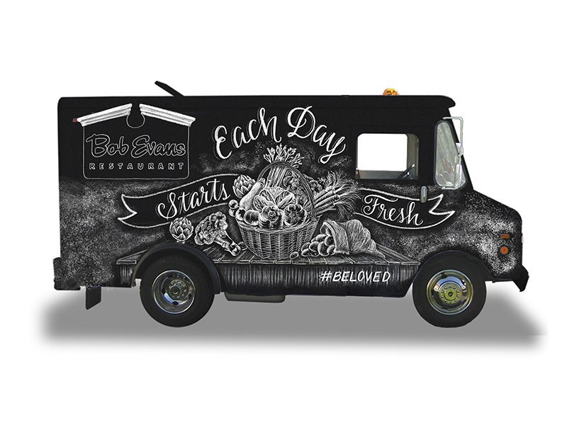 Bob Evans Truck Mock Up handdrawn food truck truck restaurant vegetables veggies lettering chalk art chalk