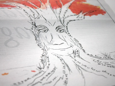 Firewords Tree sketch quarterly tree drawing layout editorial masthead magazine newsprint kickstarter publishing newspaper