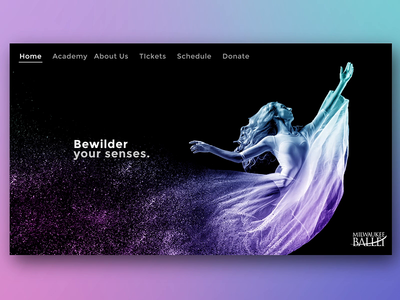 Ballet Landing Page With Color! photography transitions landing page web design ui ux design motion blur after effects motion