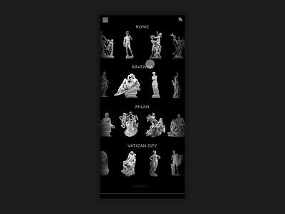 Tour Italian Sculpture Black UI invision animation vector design uidesign maps italy italian art history mobile app design mobile animation mobile app sculpture art ui black ui