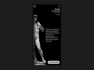 Sculpture App Concept invision mobile ui mobile transitions black ui sculpture italy after effects animation ui ux design design