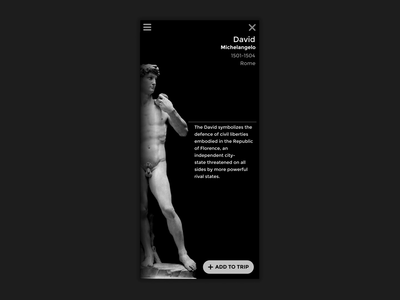 Sculpture App Concept invision mobile ui mobile transitions black ui sculpture italy after effects animation ui ux design design