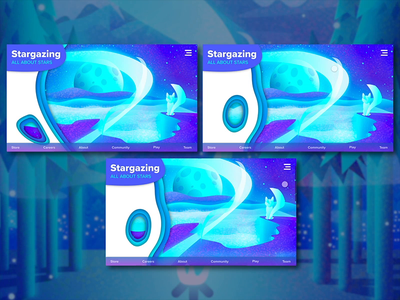 Stargazing Fox Scrolling Study xd animation blue stargazing foxes