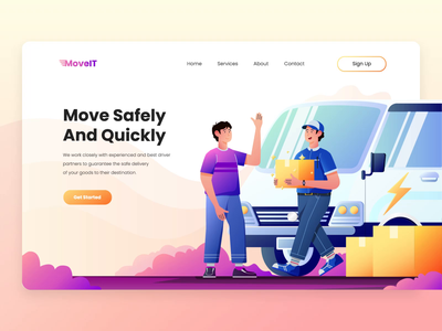 MoveIT - Freight Services Landing Page debut delivery freight delivery service flat website animation web vector ui design illustration