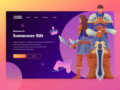 League Of Legends - Website Header Design game website website riot games league of legends games web vector ui design flat illustration animation