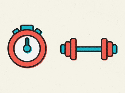 Fitness Icons fitness icons clock timer weights vector halftone