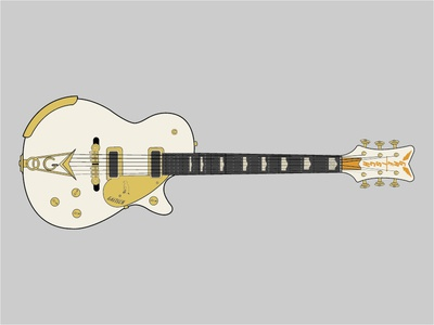 Gretsch White Pengiun music gold pengiun vector guitar gretsch