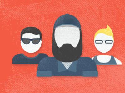 Team of writers team vintage vector illustration