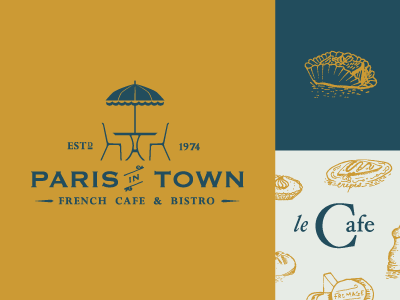 Paris in Town restaurant food paris typography cafe bistro french illustration branding
