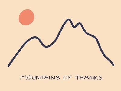 Mountains of Thanks mountain mountains illustration thank you card car thank you thanks