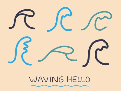 Waving Hello hand drawn ocean surf surfing waves illustration cards greeting cards greeting card hello