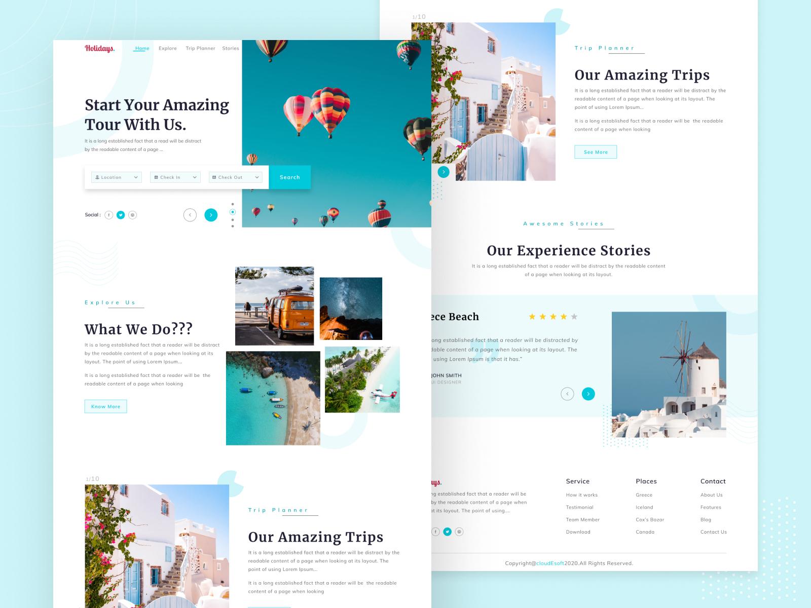 Travel  Landing  Page  Design vector flat web websites ux ui typography mobile minimal illustration graphic design design branding agency concept clean branding art app animation