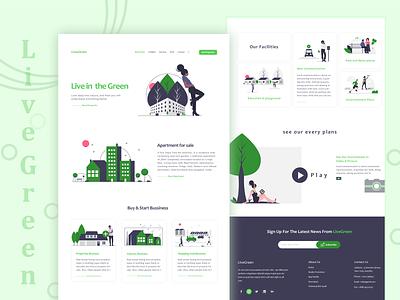 Live Green Apartment booking Websit ux ui designer website typography concept branding web minimal design