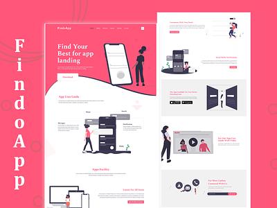 FindoApp App User-Guide landing page illustration designer website typography concept branding web ux ui minimal design
