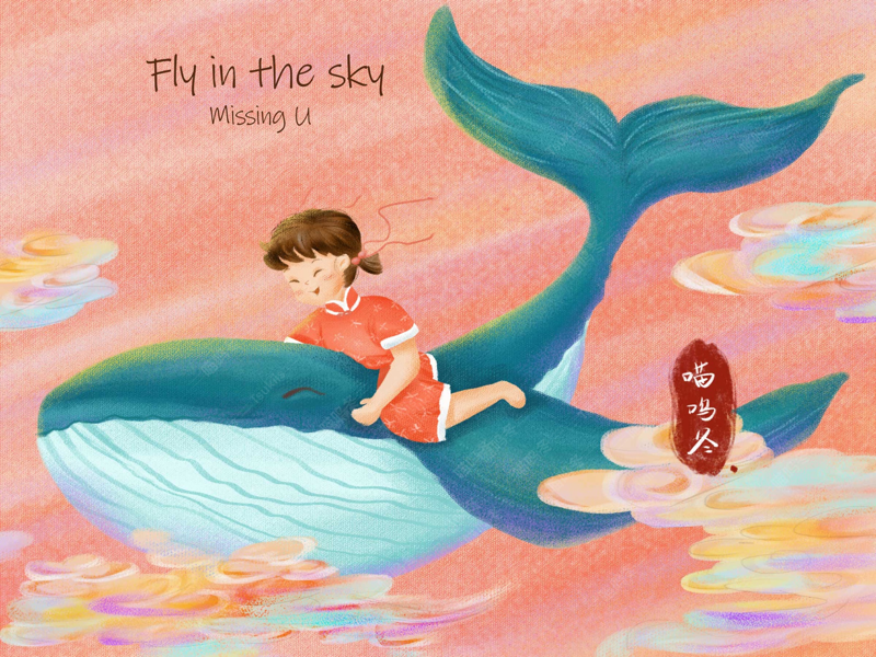 Fly in the sky sky flying little girl wale chinese style