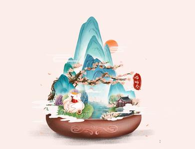 Microscopic scene - Chinese ink-wash illustration ink-wash illustration animal chinese culture cat girl illustration chinese