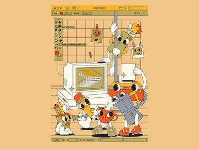 critical error pencil printer computer team illustraion flat characters design character design character