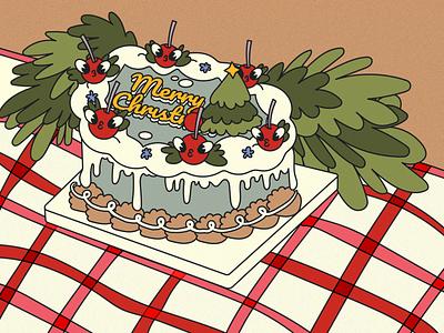 still life Christmas cake christmas card christmas cake christmas party christmas cake stilllife still life team illustraion flat characters design character design character