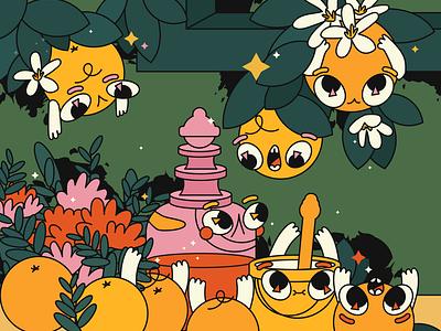 week 39 still life flowers oranges still life stilllife team flat illustraion characters design character design character