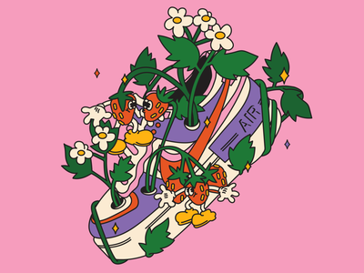 nike vs nature flat illustrator nature sneakers nike air nike fashion stilllife flat illustraion characters design character design character