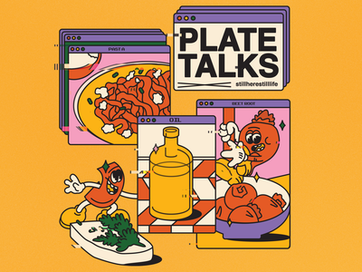 plate talks x still life food illustration receipt still life stilllife team flat illustraion characters design character design character