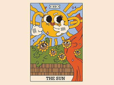 the sun card vector illustration design characters tarot card illustraion character design