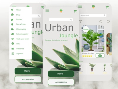 e-commerce application for plant web shop prototype app design vector illustration balsamiq ux ui design