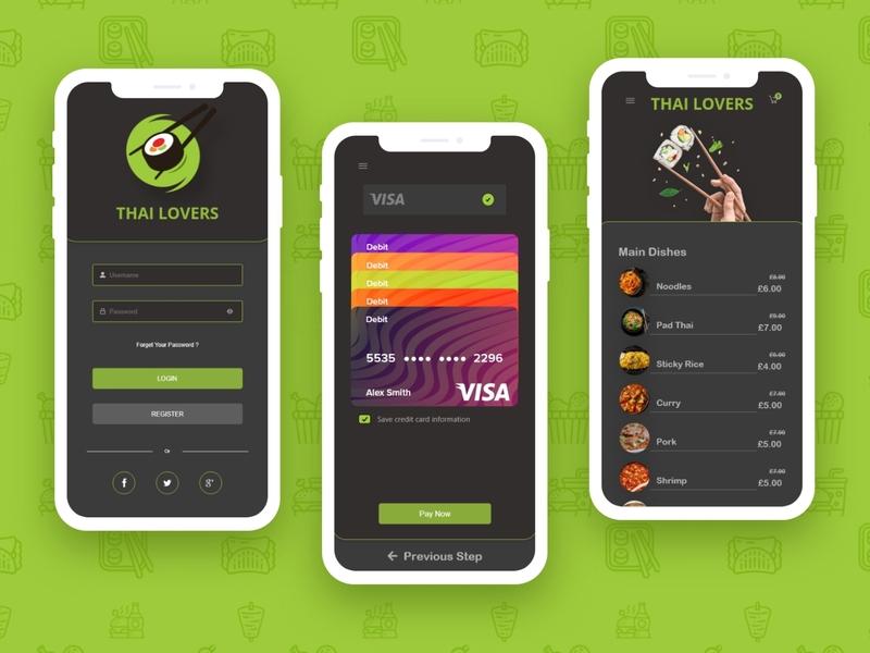 Thai Food Delivery App typography art app ux vector ui logo design branding illustration