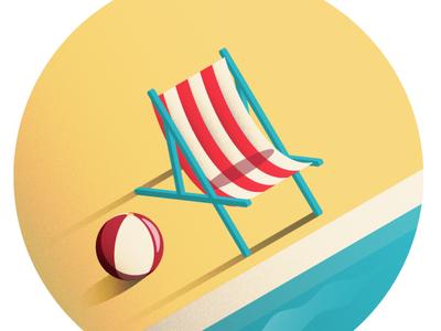 Beach chair dribbble daily grain texture icon isometric illustration isometric art illustrator vector illustration flat design