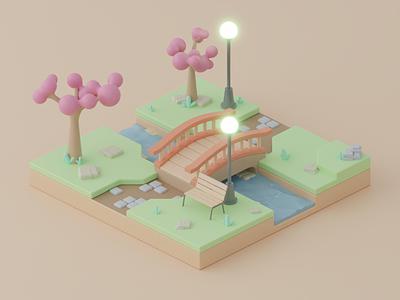 Sakura Park isometric art illustration design bridge park blender 3d dribbble 3dart